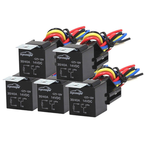 5 Pack - EPAuto 30/40 AMP Relay Harness Spdt 12V Bosch Style - Chickadee Solutions - 1