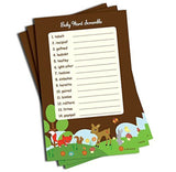 Word Scramble - Baby Shower Game - Woodlands Theme (50-sheets) - Chickadee Solutions