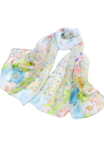 Alucar Women's Elegant Printing Georgette Lightweight Scarves Blue - Chickadee Solutions