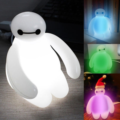 Big Hero 6 Baymax Vinyl Action Figure Cartoon Kids Color Changing Night light... - Chickadee Solutions - 1