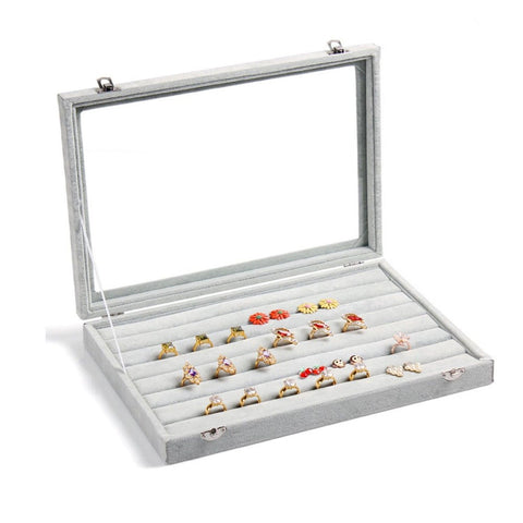 Valdler Clear Lid 7 Slots Jewelry Rings Earrings Tray Showcase Display Storage - Chickadee Solutions - 1
