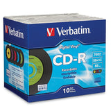 Verbatim 700 MB 52x 80 Minute Digital Vinyl Recordable Disc CD-R 10-Disc Jewe... - Chickadee Solutions - 1