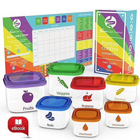 SDC - 7 Piece Portion Control Containers Kit Comparable to 21 Day Fix with Co... - Chickadee Solutions - 1