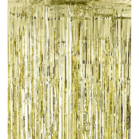 Metallic Gold Foil Fringe Shiny Curtains for Party Prom Birthday Event Decora... - Chickadee Solutions