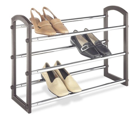 Whitmor 6579-1975 3 Tier Expandable Faux Leather Shoe Rack Chromed Wire - Chickadee Solutions