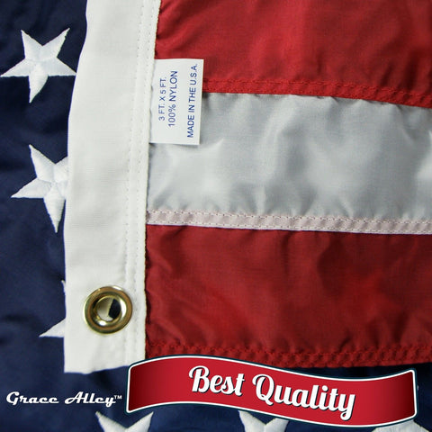 American Flag: 100% American Made - Embroidered Stars and Sewn Stripes - 3 x ... - Chickadee Solutions