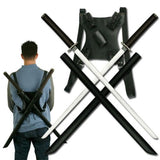 Ace Martial Arts Supply Leonardo Dual Ninja Swords with Back Carrying Scabbard - Chickadee Solutions - 1