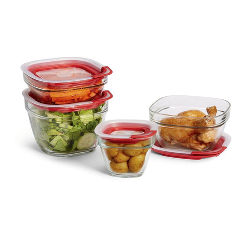 Rubbermaid Easy Find Lid Glass Food Storage Container 8-Piece Set (2856008) - Chickadee Solutions - 1