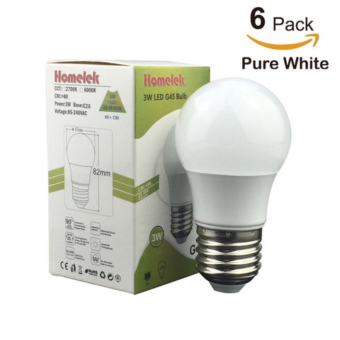 (6 Pack) Homelek 3 W LED Light Bulbs Equivalent to 25W E26 Base G45 Bulb 250 ... - Chickadee Solutions - 1