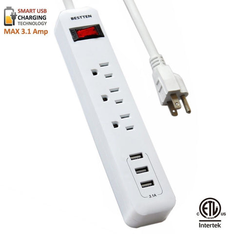 Bestten 3 Outlet Surge Protector Power Strip with Triple 3.1A USB Charging Po... - Chickadee Solutions - 1