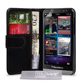 Yousave Blackberry Z30 Case Black PU Leather Wallet Cover - Chickadee Solutions - 1