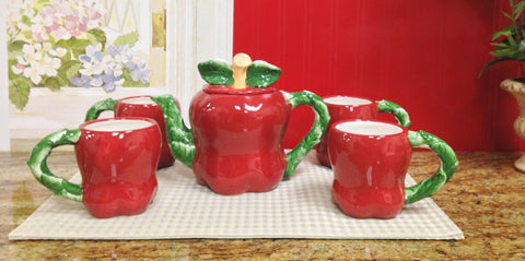 APPLE 3-DTeapot and 4 Mugs 87456 BY ACK - Chickadee Solutions - 1