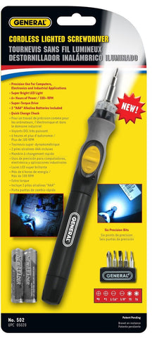 General Tools 502 Cordless Lighted Power Precision Screwdriver - Chickadee Solutions - 1