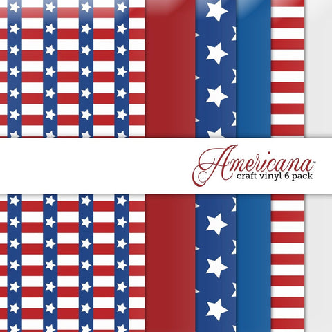 Americana Multi-pack Printed Craft Vinyl 6 Sheets 12x12 for Vinyl Cutters - Chickadee Solutions - 1