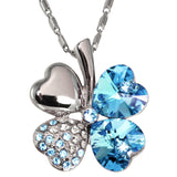 Four Leaf Clover Heart Shaped Swarovski Elements Crystal Rhodium Plated Penda... - Chickadee Solutions - 1