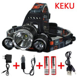 Keku LED High Power Headlamp Rechargeable Waterproof Head Flashlight Lamp wit... - Chickadee Solutions - 1