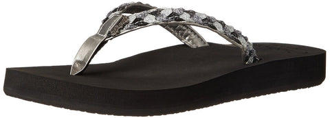 Reef Women's Twisted Star Cushion Rubber Flip Flop Black Pewter 5 B(M) US - Chickadee Solutions - 1
