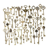 KING DO WAY 69pcs Antique Bronze Vintage Skeleton Keys Charm Set DIY Handmade... - Chickadee Solutions - 1