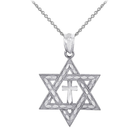 925 Sterling Silver Jewish Charm Cross Star of David Pendant - Chickadee Solutions - 1