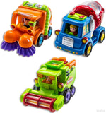 WolVol (Set of 3) Push and Go Friction Powered Car Toys Street sweeper truck ... - Chickadee Solutions - 1