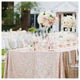 ShinyBeauty 60inx102in Sequin Tablecloth For Wedding/Party-- (Champagne Blush) - Chickadee Solutions - 1