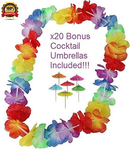 Leis - 50 Quality Leis -THE BEST QUALITY on Amazon!! With FREE Cocktail Umbre... - Chickadee Solutions - 1