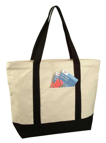 "22"" Heavy Duty Cotton Canvas Tote Bag (Zippered) Black - Chickadee Solutions"