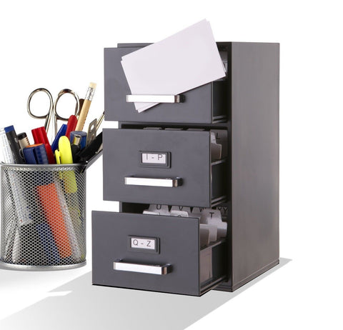 Mini file cabinet business card holder 3 drawer for Business card filing cabinet
