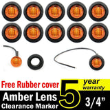 "10 Pcs TMH 3/4"" Inch Mount Amber LED Clearance Markers Bullet Marker lights s... - Chickadee Solutions - 1"