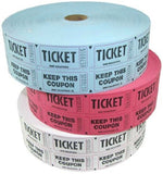 "Roll of (1000) Pairs of Standard 2"" x 1"" Raffle Tickets Black Lettering on Re... - Chickadee Solutions - 1"