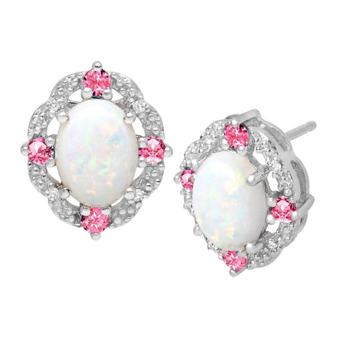 1 1/2 ct Created Opal & Pink Sapphire Stud Earrings with Diamonds in Sterling... - Chickadee Solutions - 1