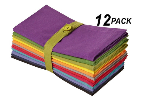 Cotton Craft Dinner Napkins - Multicolor 12 Pack - Pure 100% Cotton - 20x20 O... - Chickadee Solutions - 1