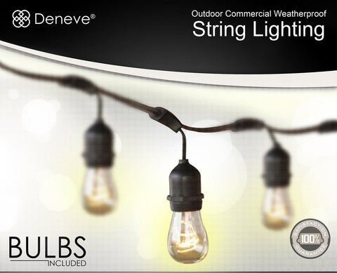 Outdoor String Lights By Deneve : Outdoor String Lights by Deneve - Heavy Duty Hanging Market Patio Cafe Pergol... Chickadee ...
