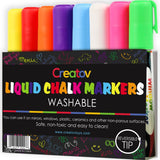 Liquid Chalk Washable Markers 8 Colored Chalk Markers Neon & White Safe & Eas... - Chickadee Solutions - 1