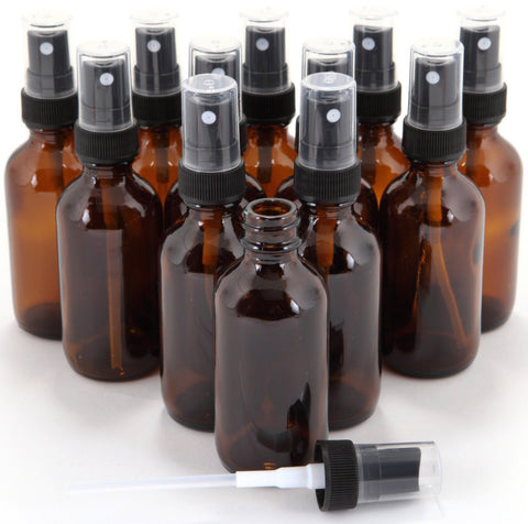 12 New High Quality 1 oz Amber Glass Bottles with Black Fine Mist Sprayer - Chickadee Solutions - 1