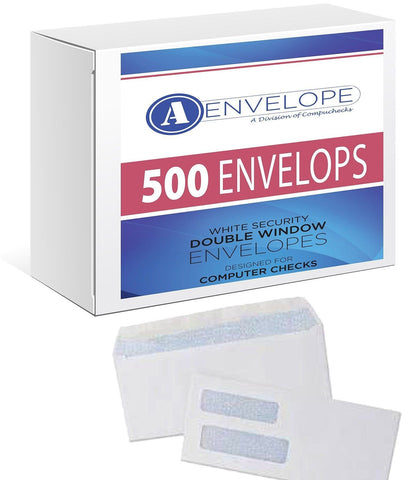 500 Quickbooks Double Window Security Check Envelopes - Designed for Checks - Chickadee Solutions - 1