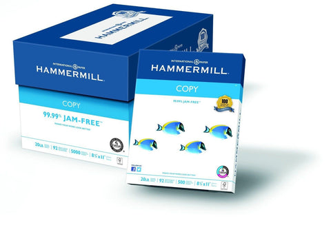 Hammermill Copy Paper 20lb 8-1/2 x 11 92 Bright 5000 Sheets/10 Ream Case (150... - Chickadee Solutions