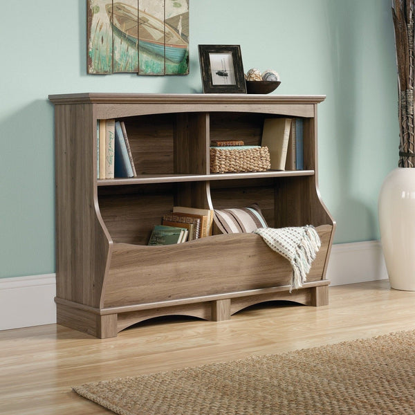 Sauder harbor view bin bookcase salt oak finish salted oak for Furniture oak harbor