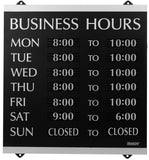 U.S. Stamp & Sign HeadLine Century Series 14x13 Inch Business Hours Sign Blac... - Chickadee Solutions