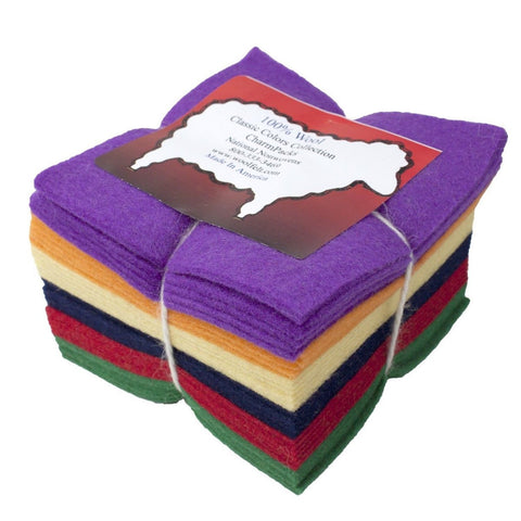 "36 5"" Squares 100% Wool Felt Classic Bright Charm Pack - Chickadee Solutions - 1"