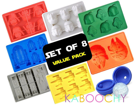 KABOOCHY Set of 8 Ice Cube Trays for Star Wars Lovers - Chickadee Solutions - 1