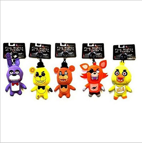 5pcs/set Five Nights at Freddy's FNAF Characters Plush Toys Key Chain Clip Ke... - Chickadee Solutions - 1