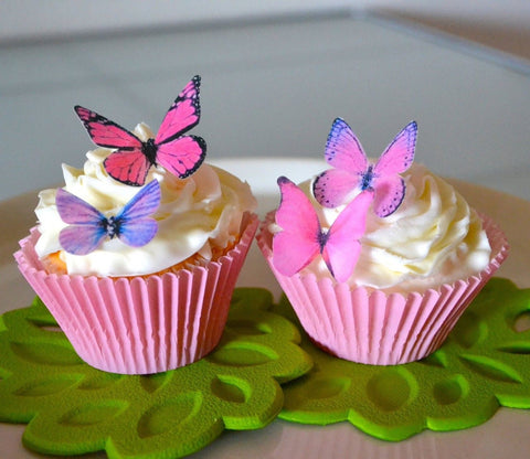 Edible Butterflies - Small Assorted Pink and Purple Set of 24 - Cake and Cupc... - Chickadee Solutions - 1