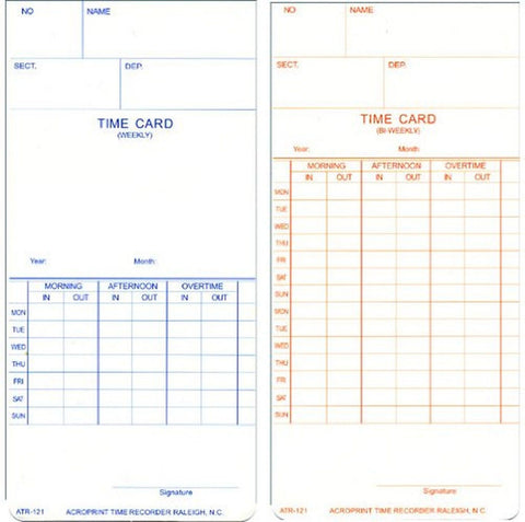 Acroprint 09-9110-000 Payroll Recorder Time Cards ATR121 For the ATR120 Time ... - Chickadee Solutions