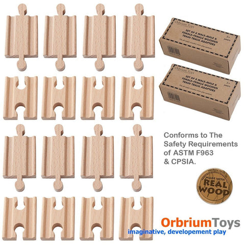2x Pack of 8 16 Pcs Orbrium Toys Male-male Female-female Wooden Train Track A... - Chickadee Solutions