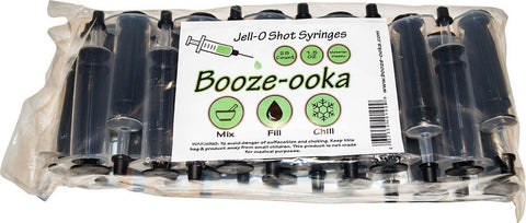 25 Pack Black Booze-ooka Reusable Jello Shot Syringe Injectors with Caps 1.5 ... - Chickadee Solutions - 1