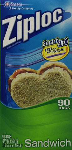 Ziploc Sandwich Bag Value Pack- 90 count (Pack of 3) Standard Packaging - Chickadee Solutions - 1
