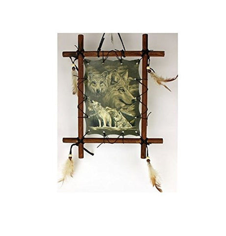 1 X Framed Indian WOLVES Picture Native American Art 9 x 11 (including frame)... - Chickadee Solutions