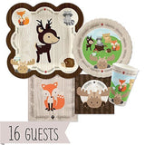 Woodland Creatures - Party Tableware Plates Cups Napkins - Bundle for 16 - Chickadee Solutions - 1