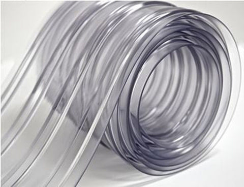 "150' Roll - 8"" Wide Ribbed PVC Plastic Strip Curtain for Walk In Coolers Ware... - Chickadee Solutions - 1"